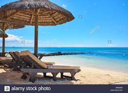 Beach Lounge Chair Umbrella White Sand Beach With Lounge Chairs And Umbrellas In Mauritius I