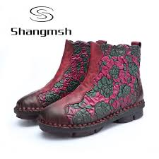 s boots autumn 2017 shangmsh floral ankle boots for 2017 autumn winter genuine