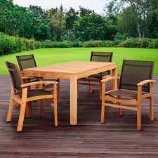 Teak Outdoor Table Amazonia Devlin 4 Person Sling Patio Dining Set With Teak Table