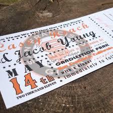 ticket wedding invitations baseball ticket wedding invitations fresh paper studios