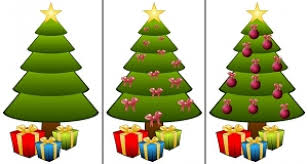trees with gift boxes and different ornaments photo