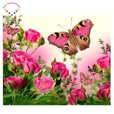 crafts painting roses and butterflies cross stitch