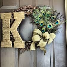 monogram wreath made peacock monogram wreath by door decor custommade