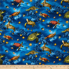 island sanctuary sea turtles ocean discount designer fabric