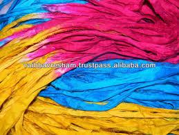 sari silk ribbon verrigated recycled sari silk ribbon for knitting craft work