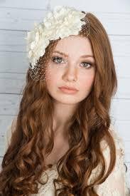 ivory flower headpiece silk flower headpiece birdcage veil