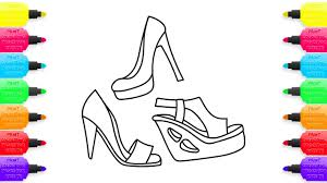 how to draw women choes footwear sandals coloring pages for