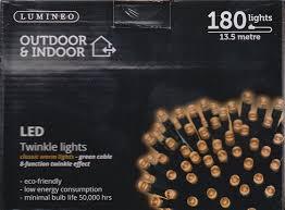 lumineo indoor outdoor led twinkle lights 180 13 5m led s warm