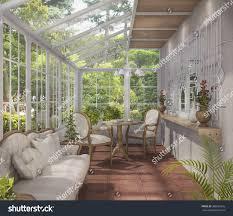 3d rendering beautiful tea room glass stock illustration 388920616