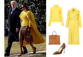 yellow sweater melania s yellow sweater and coat leopard pumps and bag in