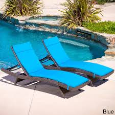 Blue Chaise Lounge Furniture Brown Rattanwith Blue Cuhsion Chaise Lounge Chairs For