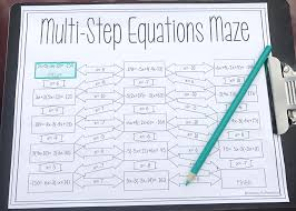 solving multi step equations maze 8th grade maths algebra 1 and