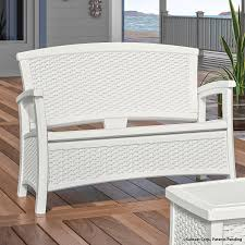 Loveseat Bench Dining Chair Amazon Com Suncast Elements Loveseat With Storage White Patio
