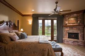 bedroom brick fireplace with curtains and valance plus ceiling