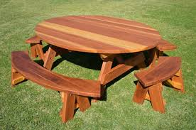 Diy Small Round Wood Park Picnic Table With Detached Octagon Bench by Decorate Wooden Picnic Tables