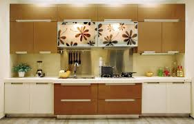 right corner kitchen cabinets with floral decoration and wood