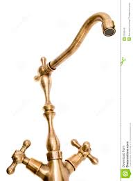 antique brass kitchen faucet and spout royalty free stock photo
