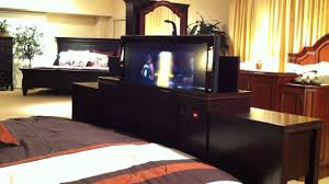 tv lift cabinet foot of bed marvelous west port home us tyler bedroom collection foot board tv
