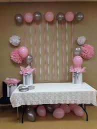 simple baby shower decorations light pink grey white baby shower baby shower ideas for