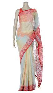 arong saree light yellow and embroidered half silk jamdani saree