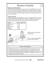 3rd grade 4th grade science worksheets friction is forceful