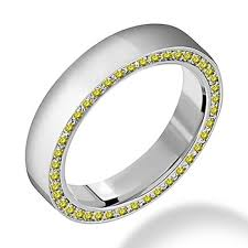 mens wedding band with diamonds yellow diamond side set men s wedding band unique ring
