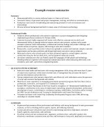 Samples Of Resume Summary Sample Summary For Resume 8 Examples In Word Pdf