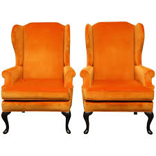 Leather Queen Anne Chair Pair Of Queen Anne Style Orange Crush Velvet Wing Chairs For Sale