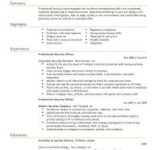 sample of security guard resume entry level security guard resume