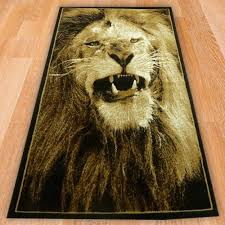 lion print black lion print rug carpet runners uk