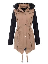 womens pvc pu sleeve fishtail fur hooded parka la s jacket coat