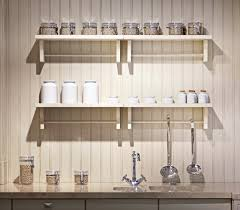 modern kitchen shelving white stained wooden wall mounted two tier kitchen shelves with