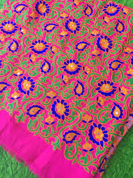 Embroidered Home Decor Fabric Bright Pink Floral Embroidered Silk Fabric From Rajasthan India