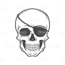 pirate evil skull vector jolly roger with eyepatch template stock