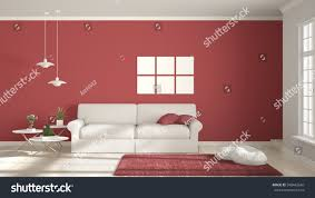 minimalist room simple white red living stock illustration