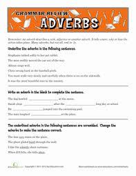 grammar review adverbs worksheet education com