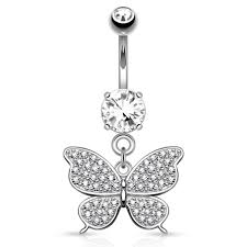 14k white gold dangling butterfly belly ring shop the