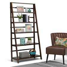 Sauder Ladder Bookcase by Medium Brown Wood Bookcases Home Office Furniture The Home Depot