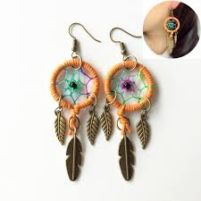 feather earings catcher earring with alloy feathers vintage indian style