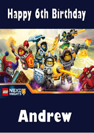 personalised lego nexo knights birthday card