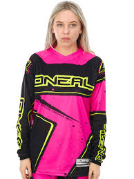 female motocross gear oneal black pink yellow 2017 element womens mx jersey oneal