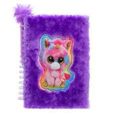 beanie boos plush journal with pen dark purple toys