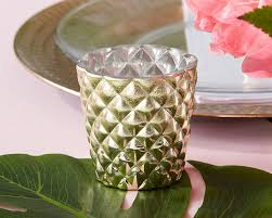 pineapple textured gold candle votive holder set of 4