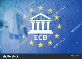 Flag Of The European Union Building Icon Inscription Ecb Flag European Stock Illustration