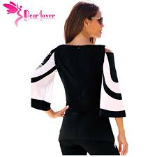 black and white blouses dearlover blouse black white colorblock bell sleeve cold