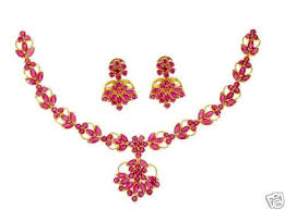 earring necklace ruby images Delicate party wear ruby necklace with earrings gleam jewels jpg