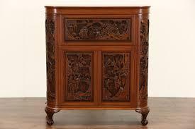 Asian Bar Cabinet Sold Carved Teak Vintage Bar Or Liquor Cabinet