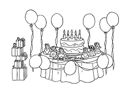 party and birthday cake coloring page in pages eson me