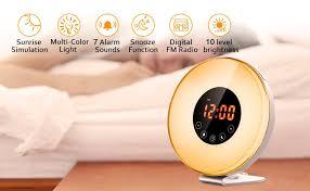 best light up alarm clock amazon com wake up light alarm clock salute sunrise simulator 7