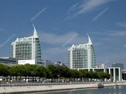 modern buildings at expo area in lisbon portugal u2014 stock photo